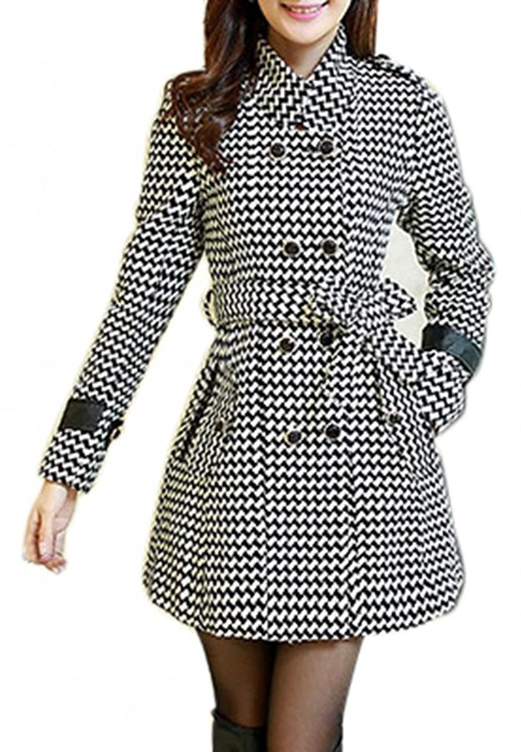 J-SUN-7 Women's Double Breasted Houndstooth Funnel-Neck Wool Coats