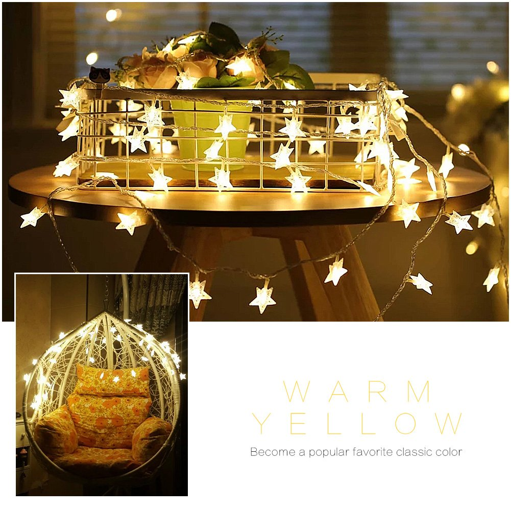 Amteker 50 Star Warm White LED String Fairy Lights 5M for Christmas Halloween Party Valentine\'s Day DIY Decoration (Battery Operated)