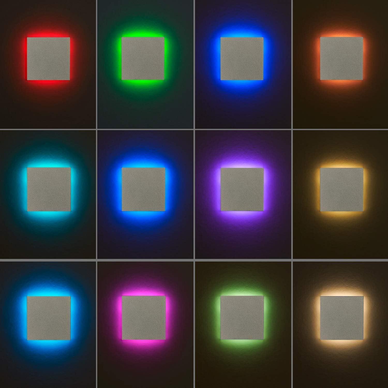 RGB LED Treppenbeleuchtung Wei/§ Eckig f/Ÿr Schalterdoseneinbau 60//68mm 11 Farben Kaltwei/§ Dimmbar