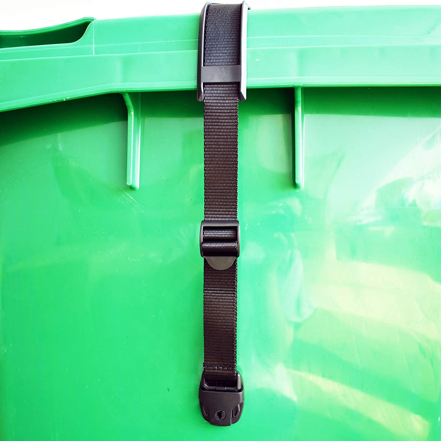 Bin Strap Garbage Lock Trash Can Lid Strap Garbage Can Security System One Piece No More Mess !