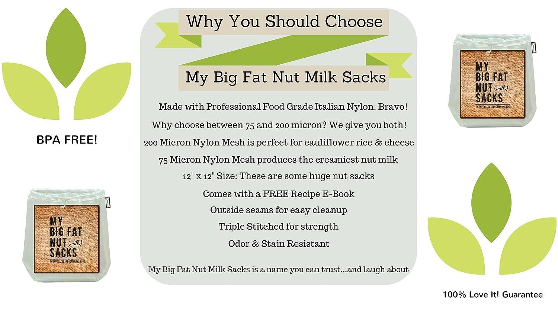 Concepts My Big Fat sacos de leche de nueces 2 paquetes con bolsa reutilizable de leche, de almendra y tamiz (12