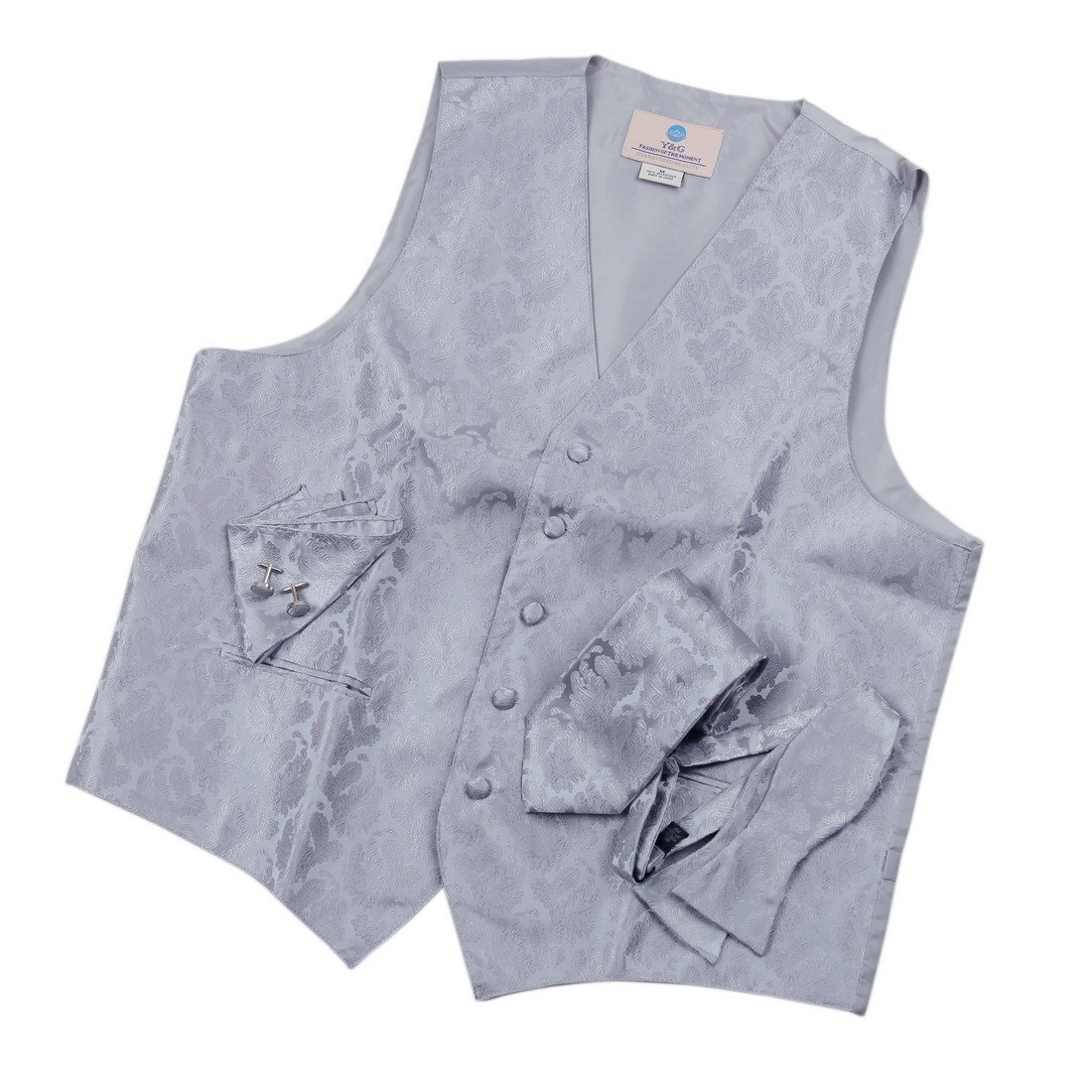 Silver Paisley Formal Vest for Men Grey Patterned for Mens Gift Idea with Neck Tie, Cufflinks, Handkerchief, Bow Tie for Suit Vs1006-M Medium Silver