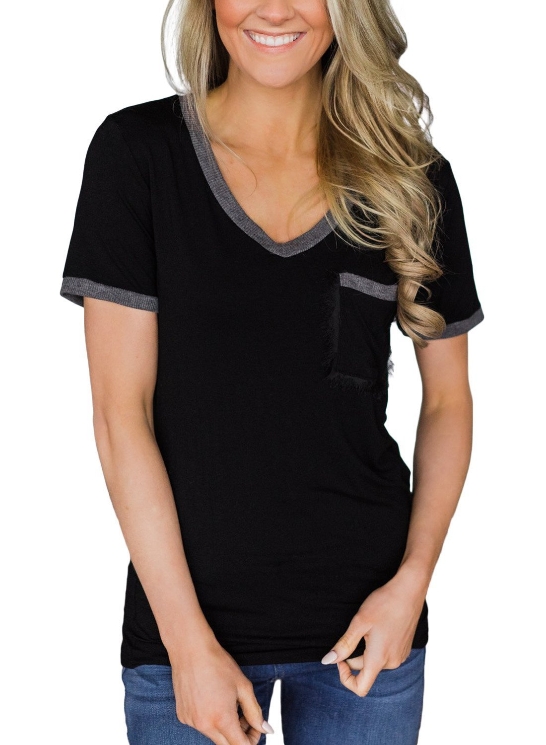 Asvivid Women's V-Neck Raglan Sleeve Baseball Tee Shirt Pocket Loose Tunic Blouse Tops Small Black