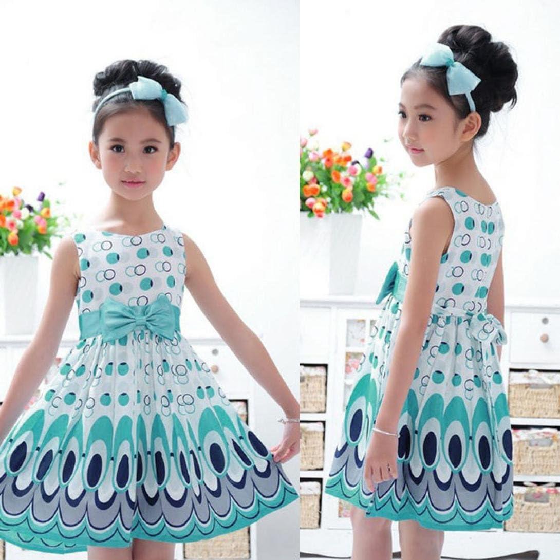 TM Elevin Toddler Kid Baby Girl Tutu Skirt Summer Bow Belt Sleeveless Bubble Peacock Dresses