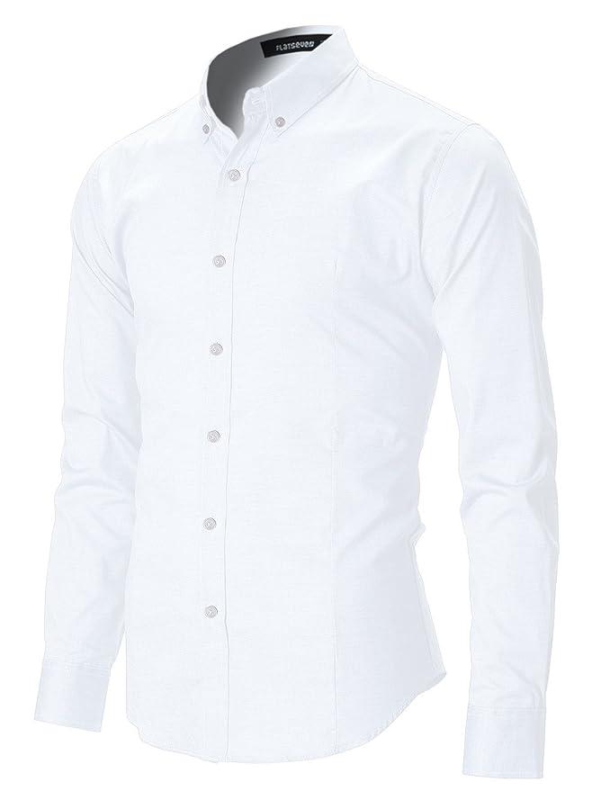 2 opinioni per FLATSEVEN Camicia Uomo Slim Fit Casual Oxford Con Bottoni
