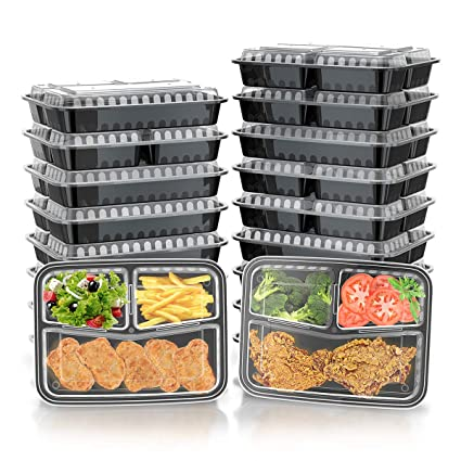 Green Label [21 Pack] Meal Prep Containers With Lids, Bento Box and Food Storage, Microwavable, Stackable, Dishwasher and Freezer Safe, 3 Compartment, ...