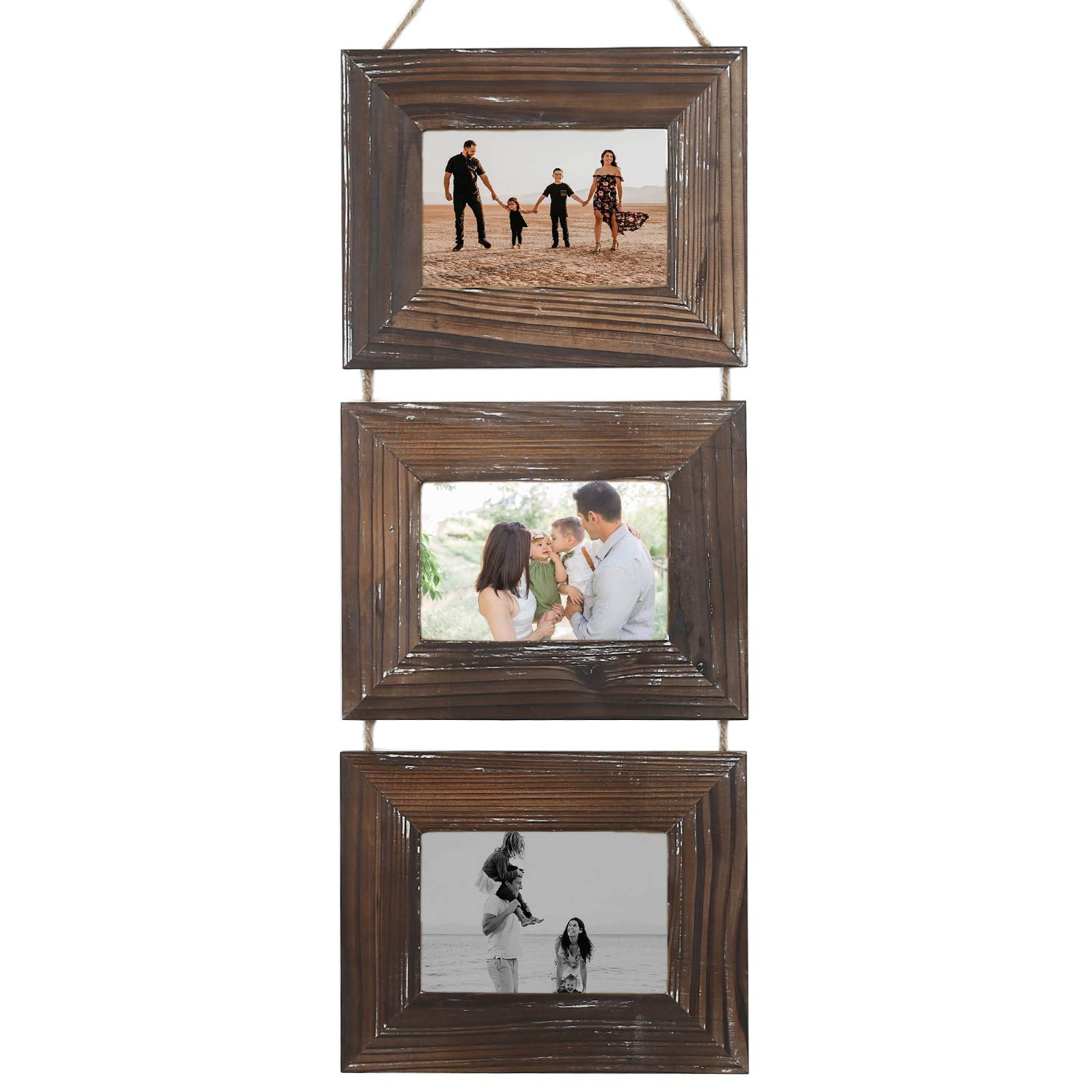Picture Frames-Photo Frame-Rustic 4x6 Picture Frame-3 Sets (4 by 6-Inch, Nature Brown) by DOCMON
