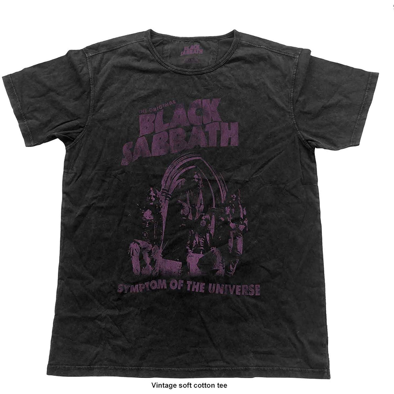 Black Sabbath T Shirt Symptom of The Universe Official Vintage Finish Black