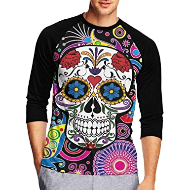 de3544f8ebf1 Pmftryuer Paisley Flower Skull Men Print 3/4-Sleeve T-Shirt, Casual T Shirts  Scoop Neck Tops Tee | Amazon.com