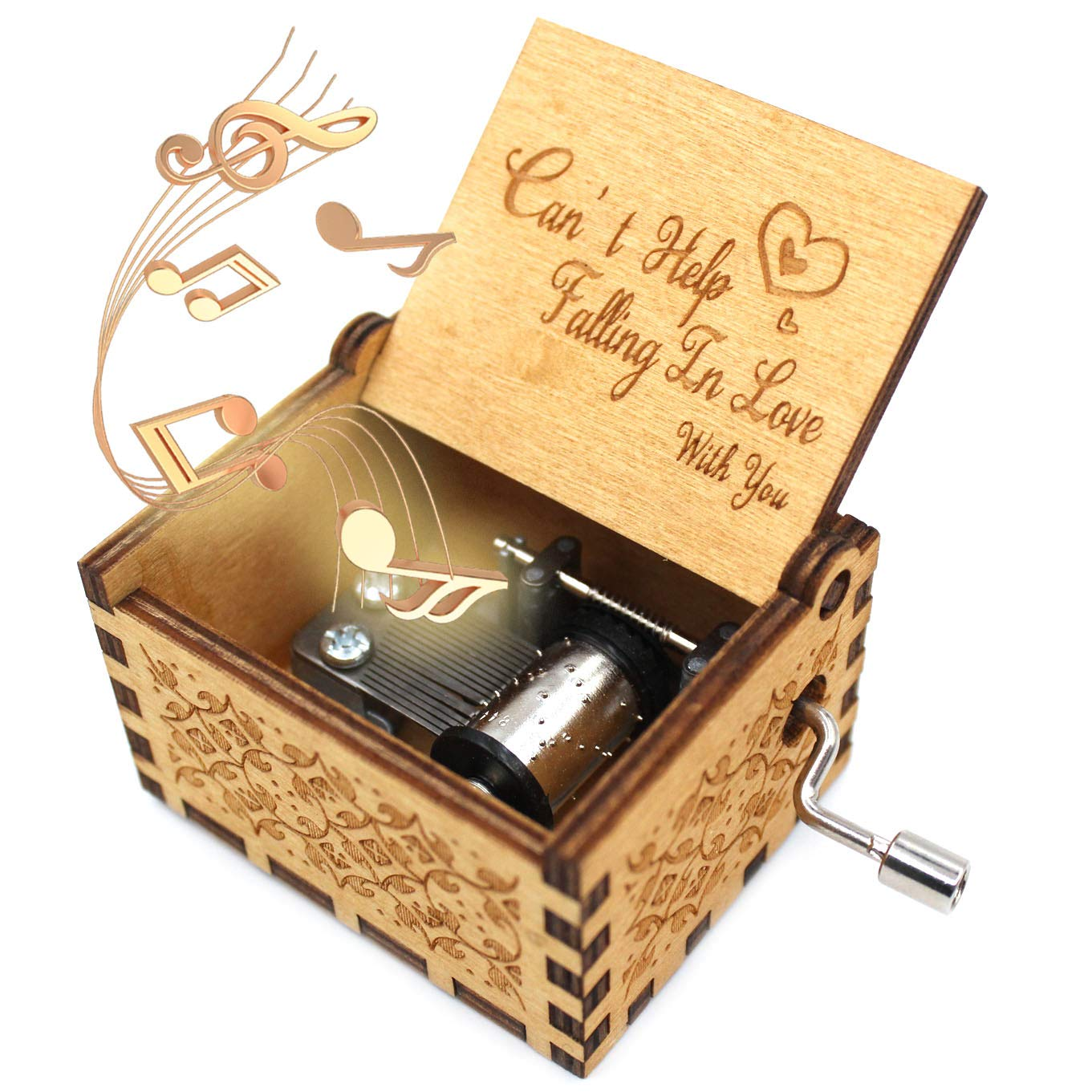 ukebobo Wooden Music Box - Can't Help Falling in Love Music Box,for The Lover Or Boyfriend, Birthday Gifts, 1 Set