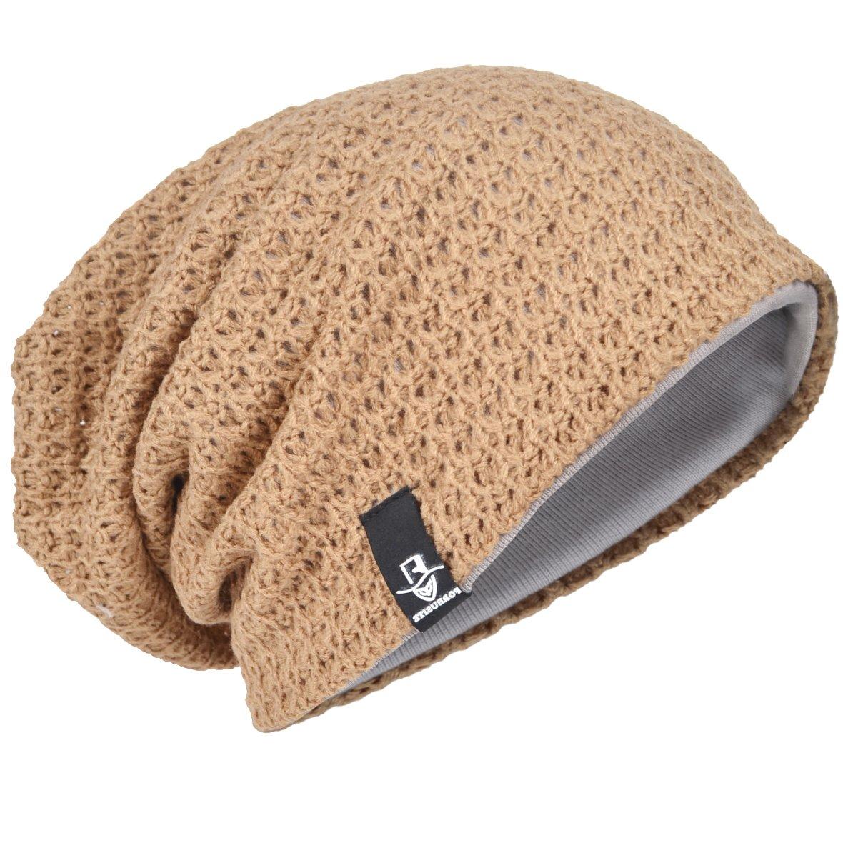 88c638e9105 Men Oversize Beanie Slouch Skull Knit Large Baggy Cap Ski Hat B08 (Beige)   Amazon.co.uk  Clothing