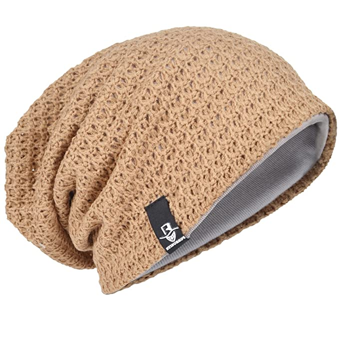 d96f9c5af30 Men Oversize Beanie Slouch Skull Knit Large Baggy Cap Ski Hat B08 (Beige)   Amazon.co.uk  Clothing