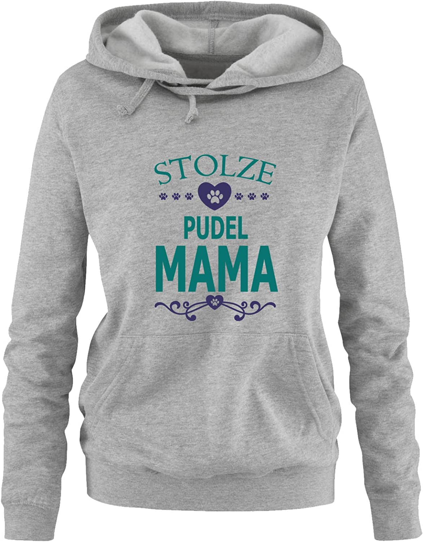 Kapuze Herz Print-Pulli Comedy Shirts Langarm Stolze Pudel Mama K/ängurutasche Damen Hoodie