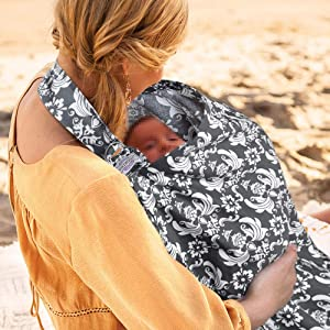 UHINOOS Nursing Cover, Infinity Soft Breastfeeding Cotton for Babies with no See Through Cotton for Mother Nursing Apron for Breastfeeding (Grey)