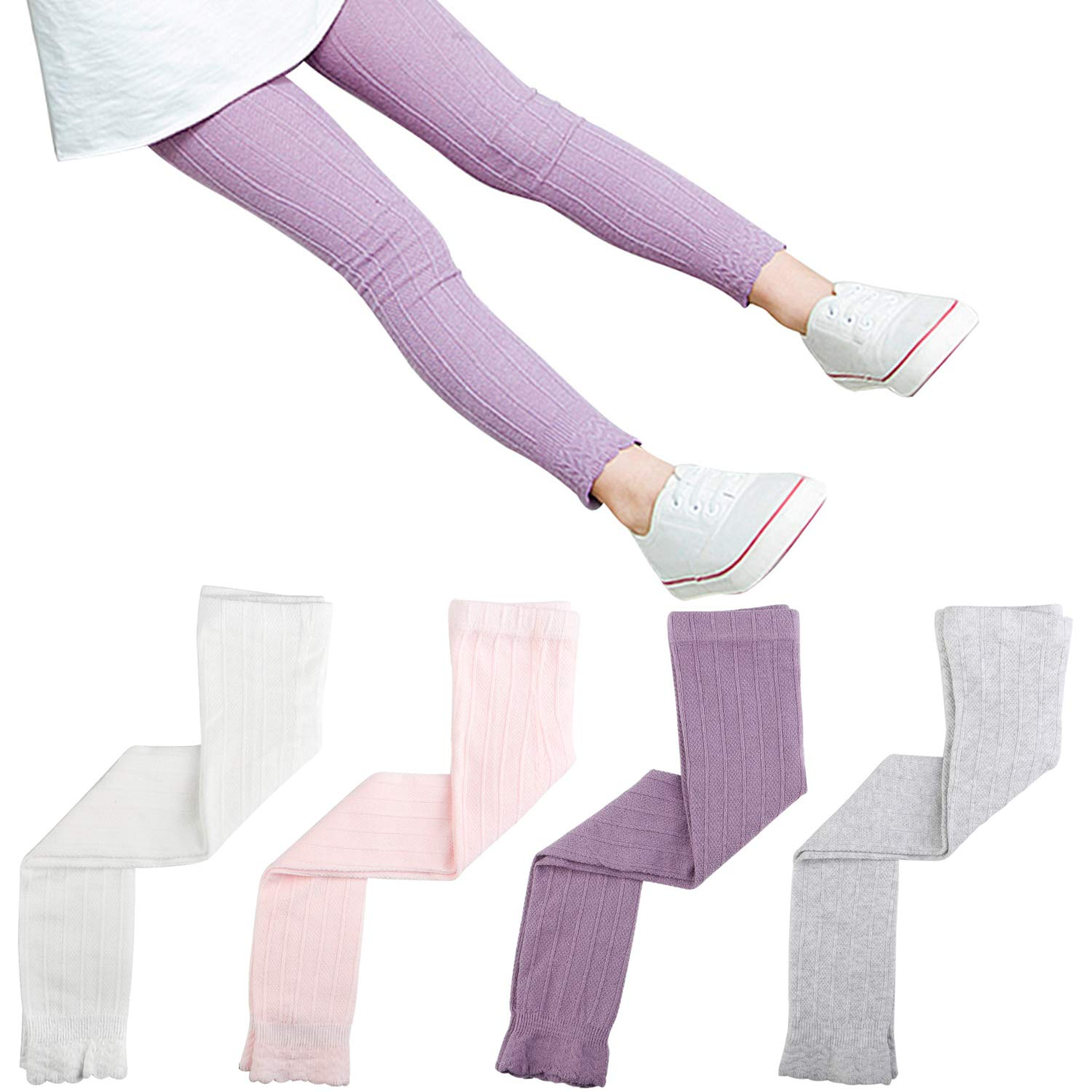 Auranso Girls Leggings Footless Tights 4 Pack Baby Girl Knit Pants Cotton Lace Trim Pantyhose Stocking for Toddler 1-7 Years