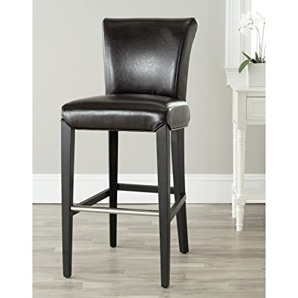 Astonishing Safavieh Mercer Collection Seth Brown Leather 25 9 Inch Bar Stool Bralicious Painted Fabric Chair Ideas Braliciousco