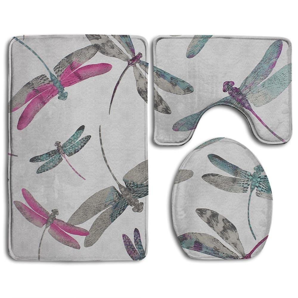 Bathroom Non-Skid Carpet Bath Rugs 3 Pieces Set Water-Absorbing Dragonfly-dance-wallpaper Flannel Toilet Floor Bath Mats Contour Rug Lid Cover