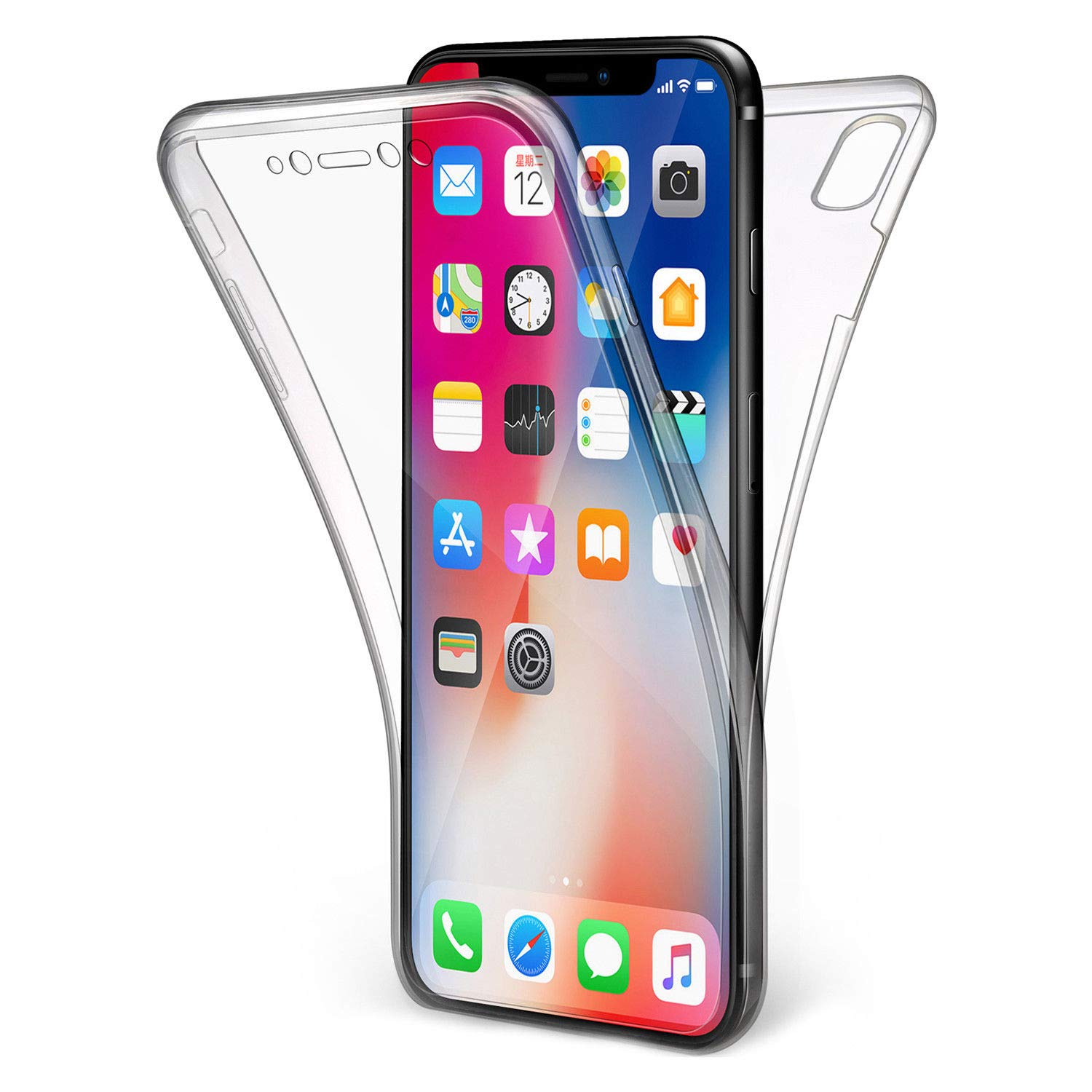 competitive price 33ef0 282c0 iPhone X Full Cover Case/Full Body Cover - Clear Case - 360 Degree Design -  Front + Back Protection - Olixar FlexiCover - Wireless Charging Compatible