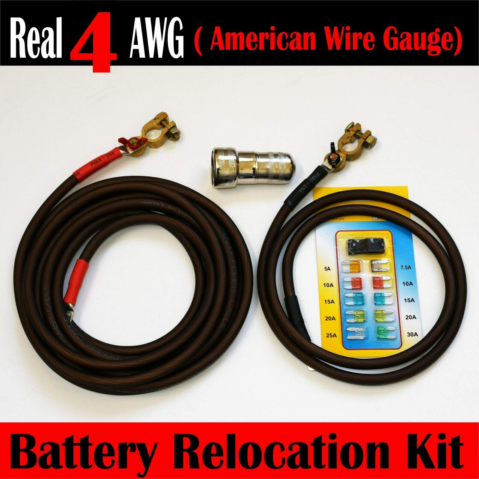 Battery Relocation Kit, Real # 4 AWG Cable, Top Post 20 FT RED/ 5 FT BLACK by PAKA TOOLS