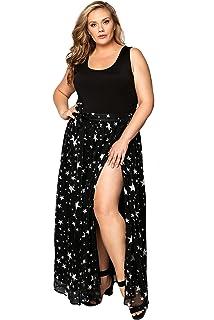 9e042af78f1 Astra Signature Women s Boho Star Print Chiffon Tie Up Waist Beach Wrap  Maxi Skirt Cover Up