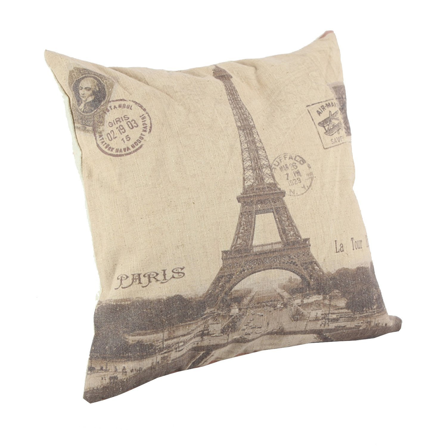 Createforlife Home Decorative Cotton Linen Square Pillowcase Throw Pillow Shams Cushion Cover Paris City Eiffel Tower 18""