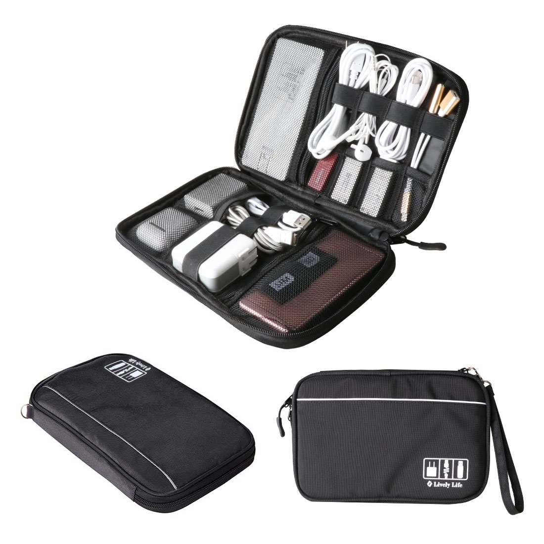 Electronics Accessories Storage Bag, Lively Life Electronics Accessories Cases Travel Universal Cable Organizer with SD SIM Card Slots for Various USB, Phone, Charger and Cable Black