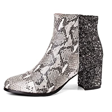 020284823e Amazon.com | MINIVOG Women's Ankle Boots Snakeskin Pattern Chunky Heel  Party Wedding Pumps Dress Booties | Ankle & Bootie