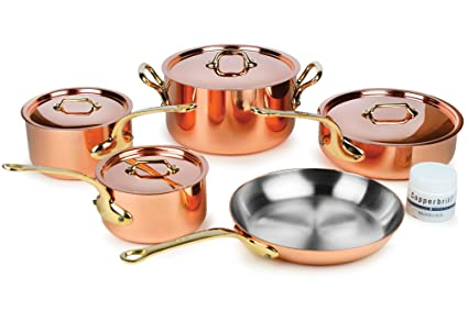 Mauviel M'heritage M250B 9-piece 2.5mm Copper Cookware Set with Bronze Handles