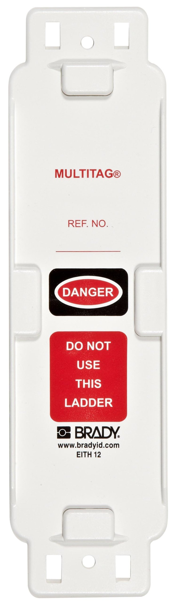 Brady LAD-EITH12 8-1/4'' Height, 2-1/4'' Width, Plastic, White Color Laddertag Holder, Front Legend ''Danger, Do Not Use This Ladder'' (Pack Of 10)