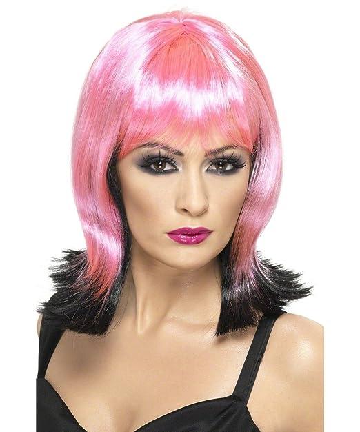 Smiffys Womens Fallen Pixie Wig, Pink/Black, ...