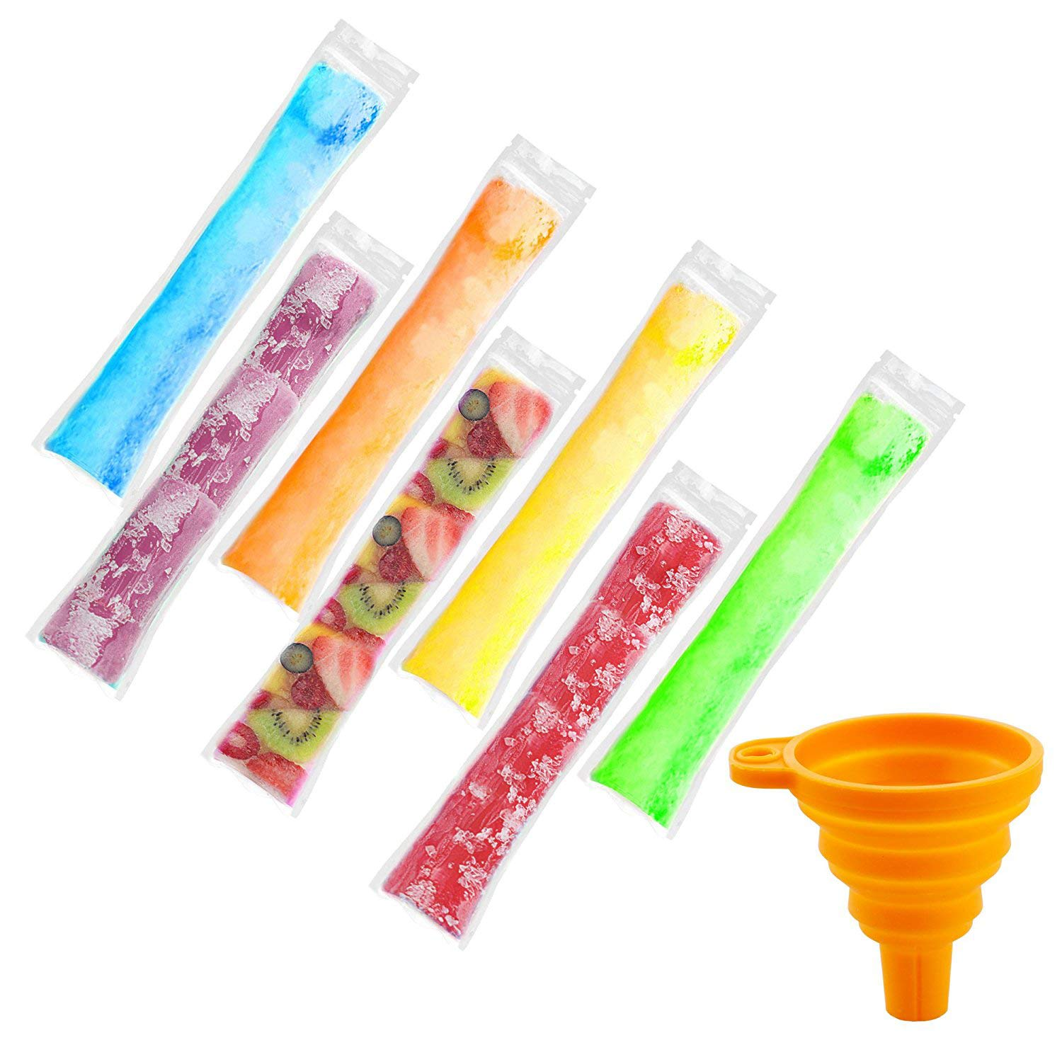 160 Pieces Ice Popsicle Molds Bags,Zip-Top Disposable DIY Ice Pop Mold Bags for Gogurt, Ice Candy, Otter Pops or Freeze Pops-Comes with A Orange Color Funnel ONEONEY