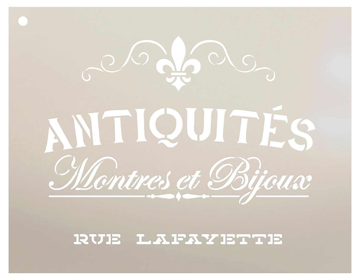 """Antiquities Montres Et Bijoux Rue Lafeyette Stencil by StudioR12   French Words - Watches Jewelry Reusable Mylar Template   Painting, Chalk, Mixed Media   Wall Art - STCL2329 - Select Size (9"""" x 7"""")"""