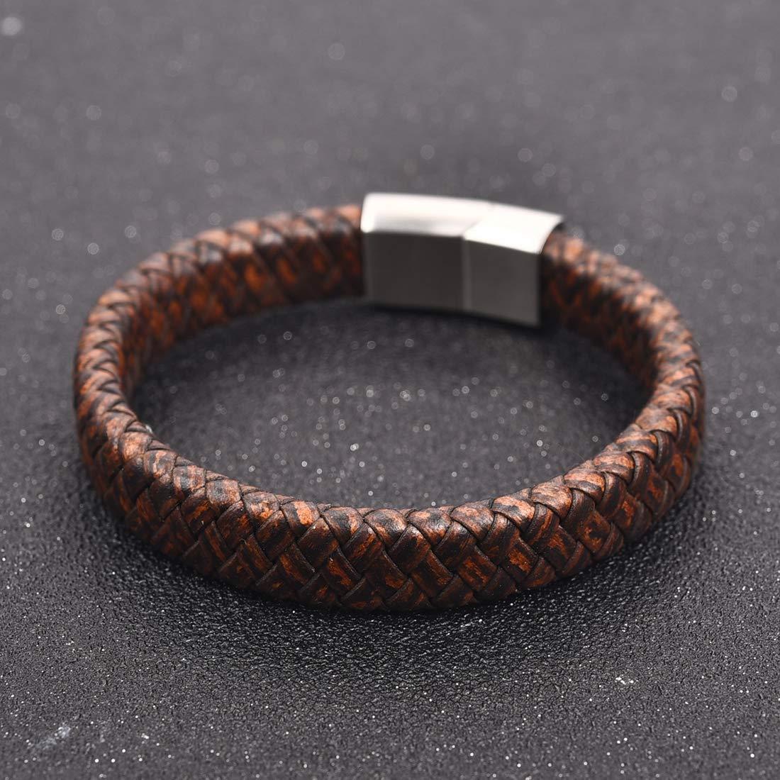 03fd7a064039d DALARAN Bracelet en Cuir Marron pour Homme Bracelet Fait Main Bracelet en Acier  Inoxydable avec Fermoir magnétique 7.3