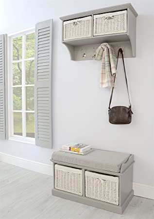 Exceptionnel Tetbury Hallway Coat Rack Bench. Dove Grey Hanging Shelf Storage Bench.  Fully Assembled Hallway