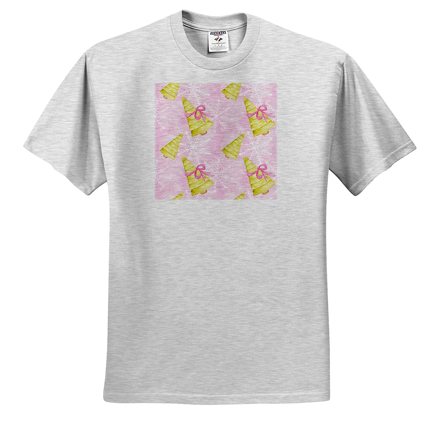 Christmas Adult T-Shirt XL ts/_318510 Chic Light Green Christmas Trees with Pink Bows Pattern 3dRose Anne Marie Baugh