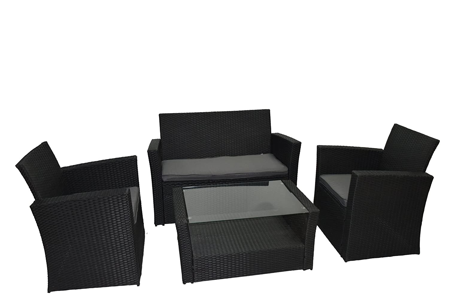 poly rattan gartenm bel gartengarnitur balkonm bel set gm11pra schwarz g nstig kaufen. Black Bedroom Furniture Sets. Home Design Ideas