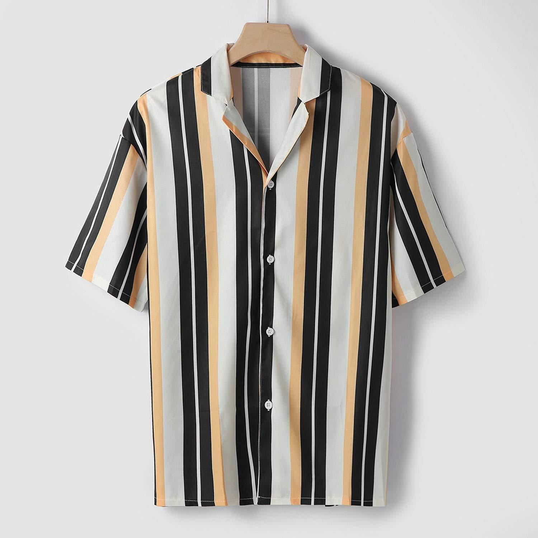 LiDuoMan Men Shirts Casual Multicolor riped Lapel Shirts Short-Sleeve Top Blouse Men Shirt Summer,Rd,XXL,