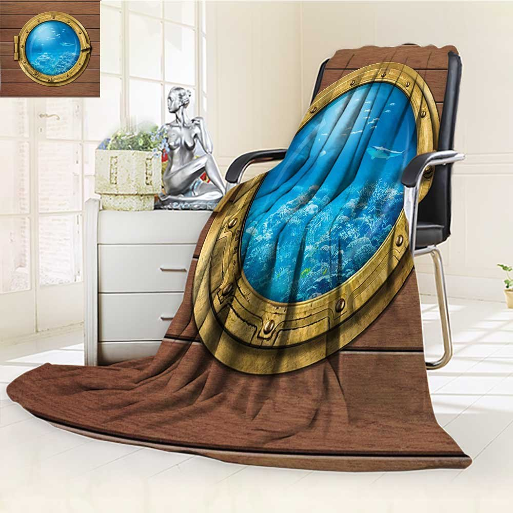 YOYI-HOME Digital Printing Duplex Printed Blanket Window with A View of Coral Reef Swimming Fishes Print Light Caramel Blue Gold Summer Quilt Comforter /W47 x H79