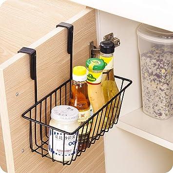 Lukzer 1 Pc Over The Door Metal Storage Holder Kitchen Accessories Organiser Drawer Cabinet Hanging Shelf Storage Organizer Basket Spice Rack Black Amazon In Home Kitchen