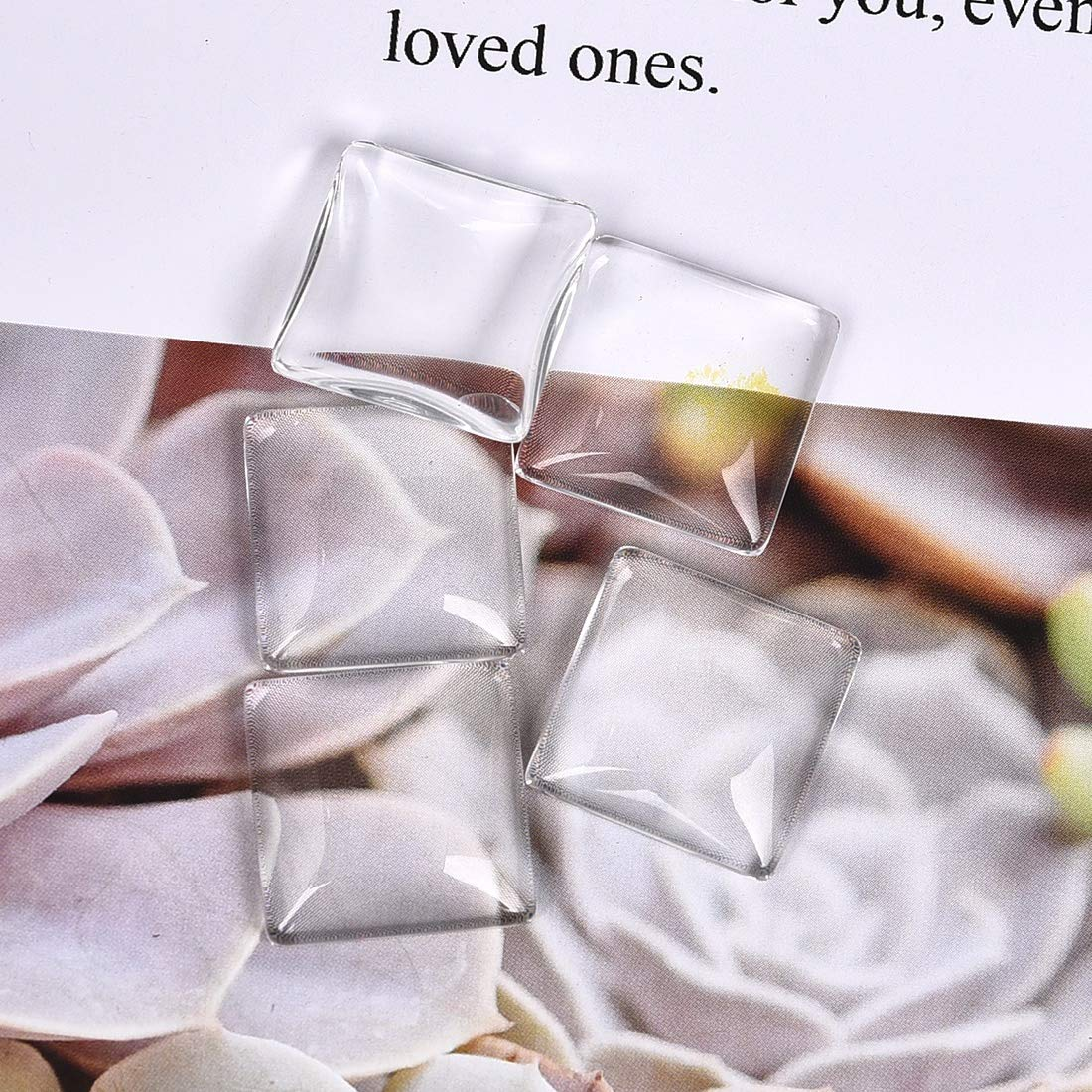 Square Glass Cabochons Clear Dome Tiles for Cameo Pendants Photo Craft Jewelry Making 30mm 10Pcs