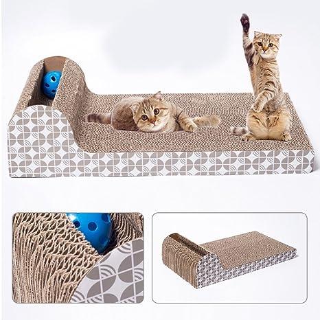 HOMYY Rascador para gatos, juguete grande, placa horizontal, sofá ondulado, construcción de