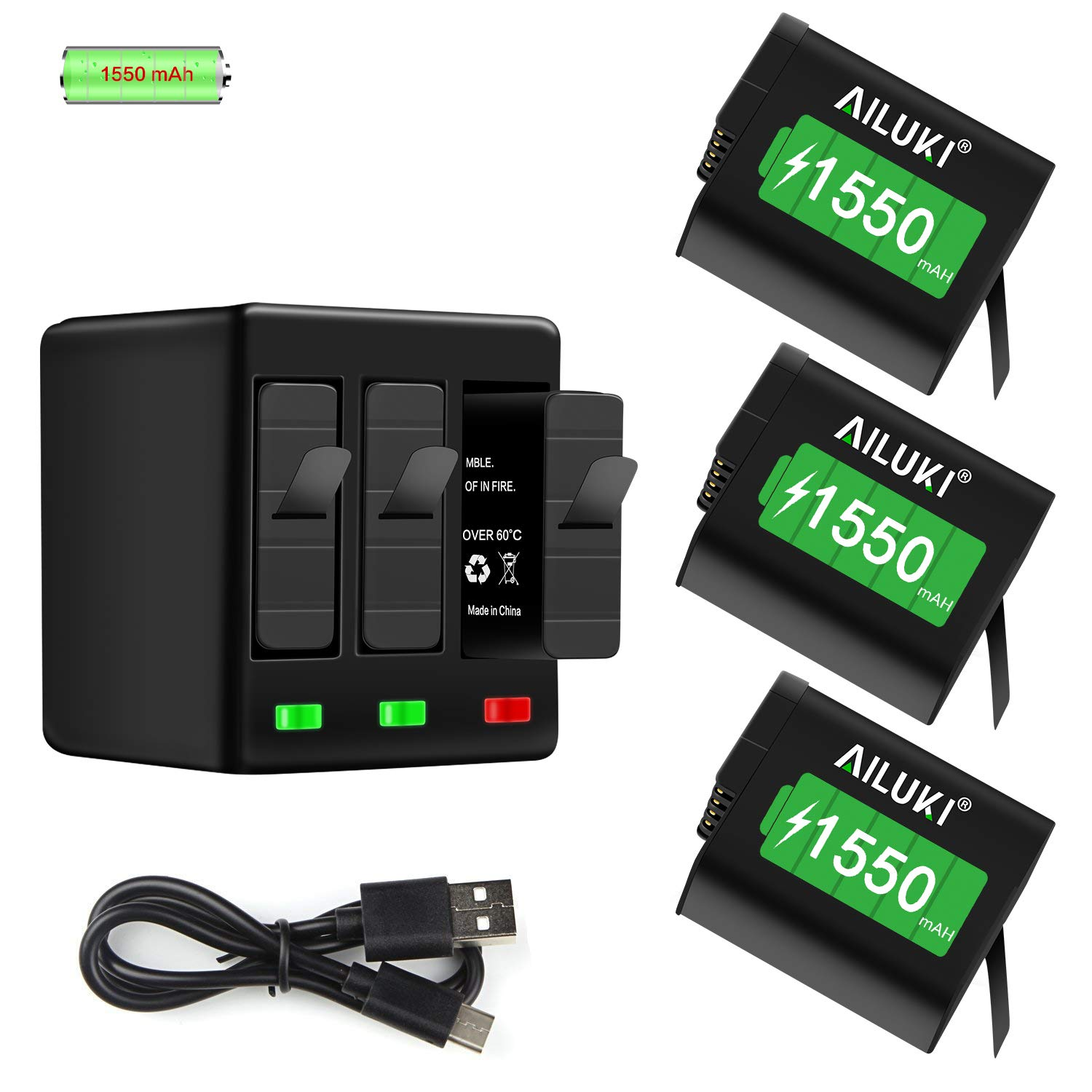 AILUKI GoPro Rechargeable Battery 3 Pack x 1550mAh and 3-Channel Charger for GoPro Hero 5 Black,Hero 6 Black, Hero 7 Black(Fully Compatible with Original Camera) by AILUKI
