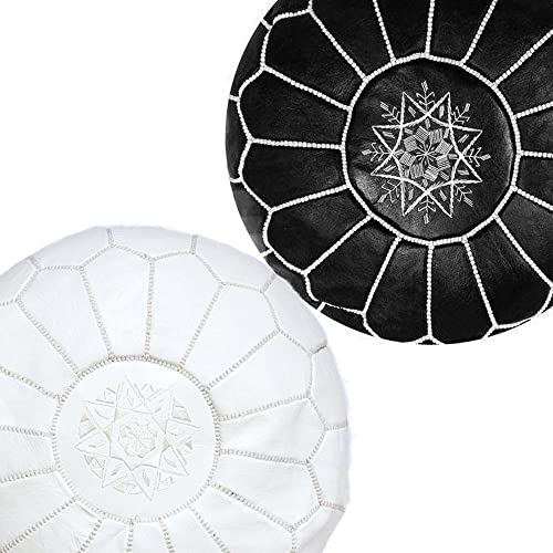 Moroccan-House Set of 2 Moroccan Poufs Black White,Handmade Natural Leather Pouf, Ottoman Pouf Home Decor, Floor Pouf, Footstool.