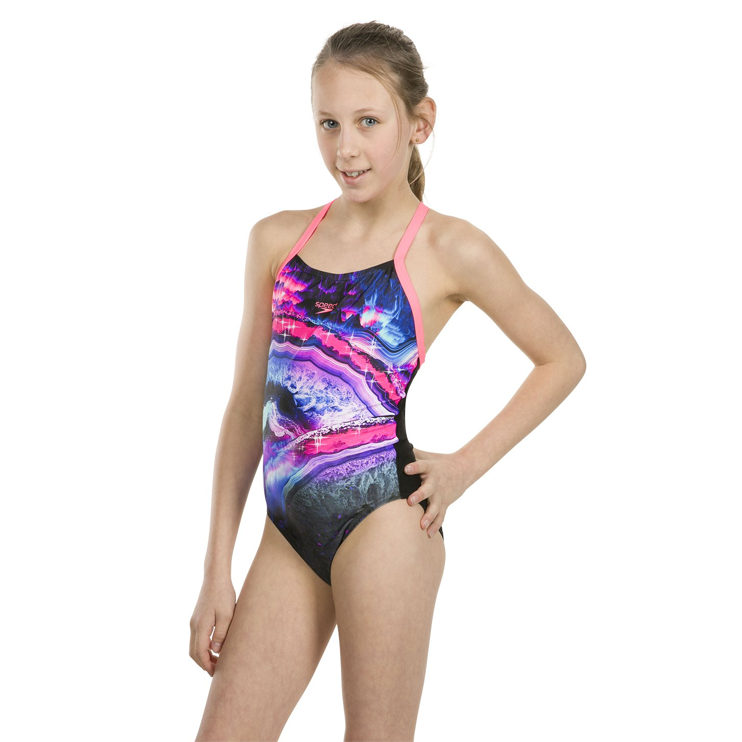 710dcc63c1dd Speedo Sapphire Shine Placement Digital Crossback, Costume da Bagno  Bambina: Amazon.it: Sport e tempo libero