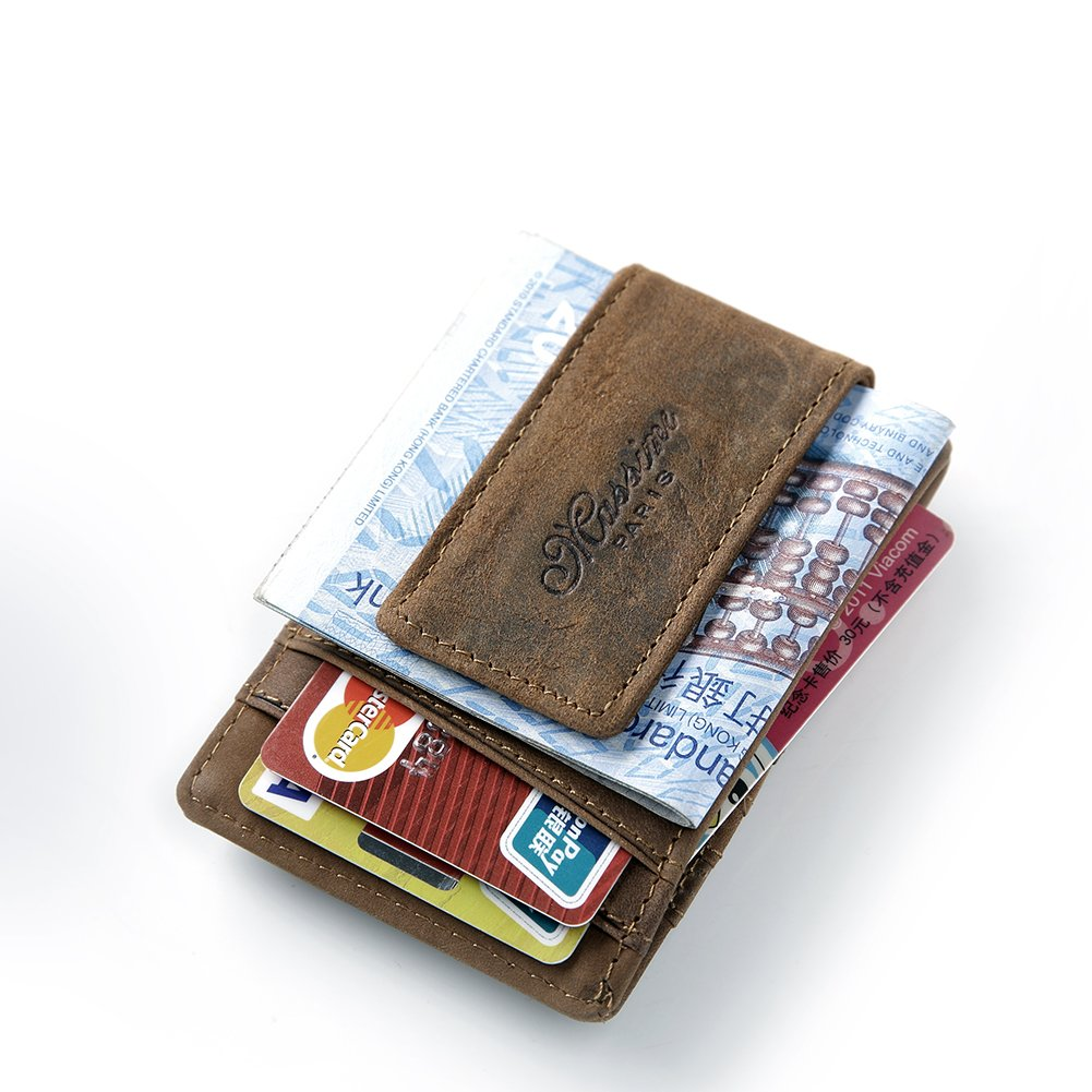 Amazon.com: Leather Money Clip, Front Pocket Wallet Credit Card Case ...
