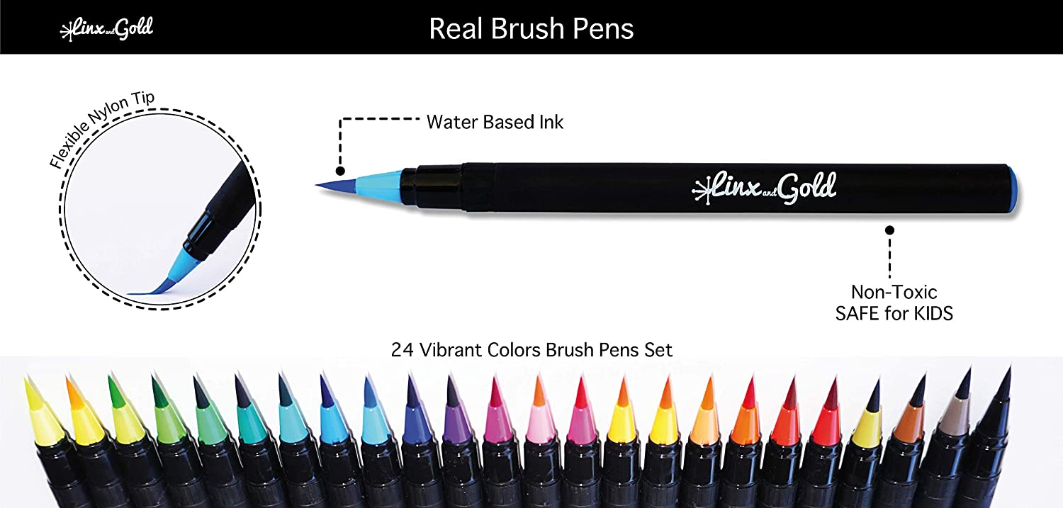 kids Painting-Drawing-Sketching-Calligraphy including water brush pen for blending with flexible nylon brush tip Great For beginners adults and professional artists 24 WaterColor Brush Pens set