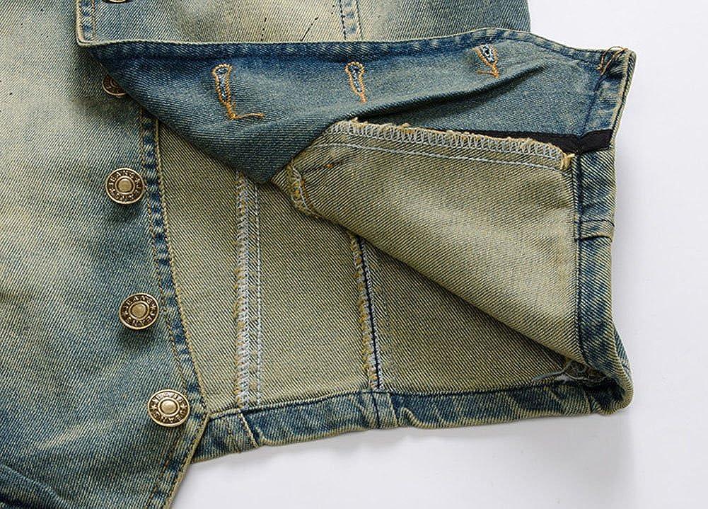 MISSMAO Cool Mens Sleeveless Brushed Denim Vest Destoryed Holes Waistcoat Sleeveless Jacket Coat Outwear