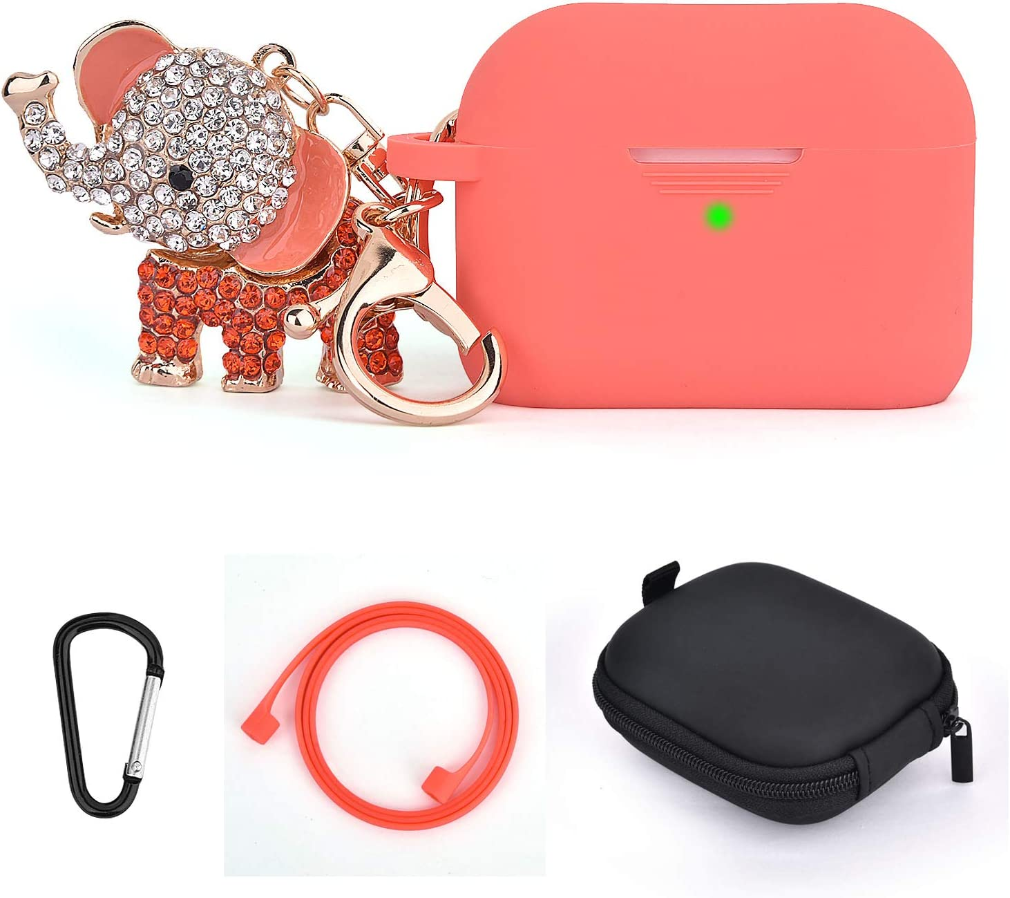 Airpods Pro Case Cover Keychain Cute Set Women,TOROTOP 5 in 1 Silicone Protective Case with Bling Elephant Keychain/Storage Box Compatible for Apple Airpods Pro 2019(Living Coral)