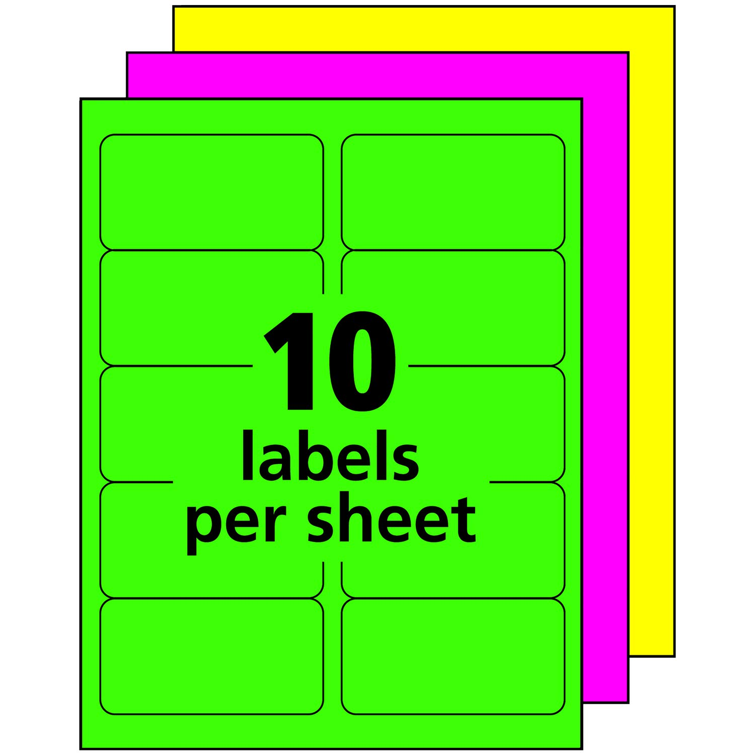 Avery High-Visibility Neon Shipping Labels for Laser Printers 2'' x 4'', Assorted Colors, Box of 1,000 (5964) by Avery (Image #7)