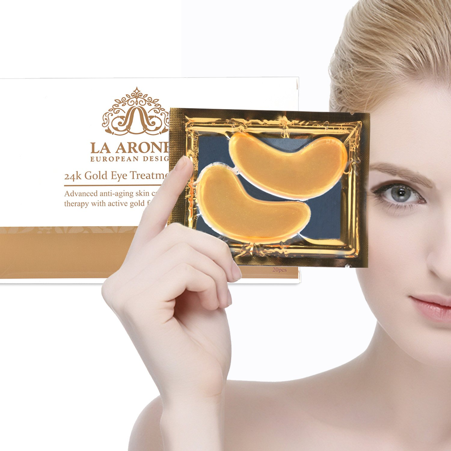LA ARONET 24K Gold Eye Treatment Masks - (Pack of 20 Pairs) with Anti-Aging Wrinkle Reduction Collagen and Nutrients to Reduce Dark Circles, Bags, and Eye Puffiness, 5 EXTRA BONUS PAIRS included by LA ARONET (Image #9)
